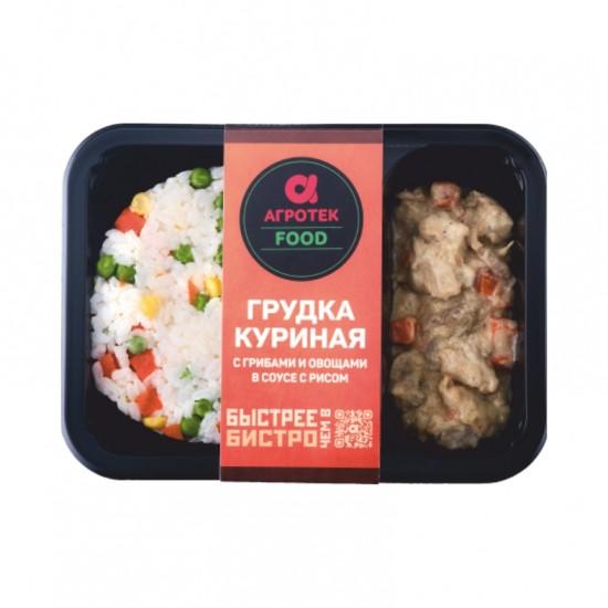 Грудка куриная с грибами и овощами в соусе с рисом  (охлажденная)